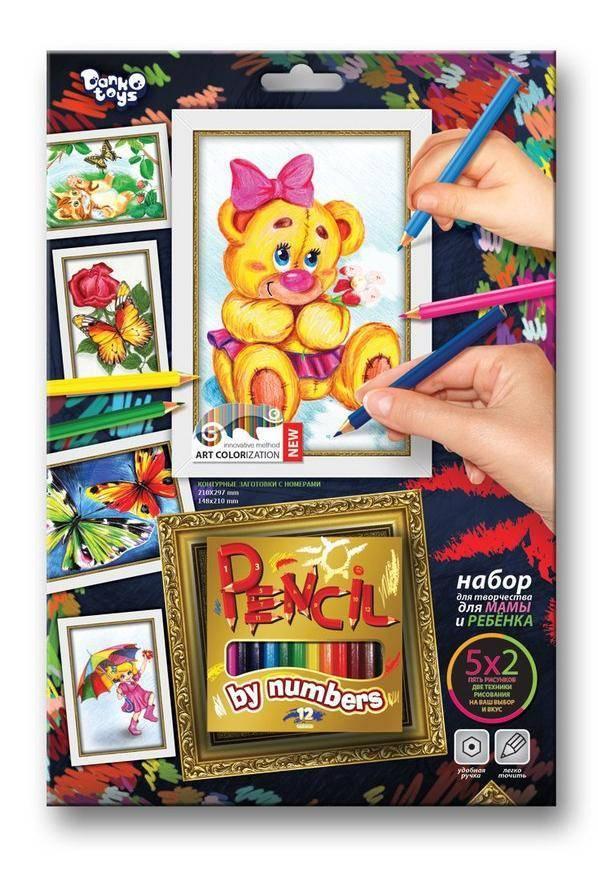 Медвежонок, раскраска по номерам карандашами Данко-Тойс ...