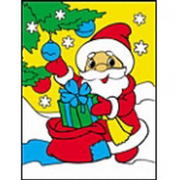 """Раскраска блестками """"Дед Мороз с подарками"""" А5 Рыжий кот Р ..."""