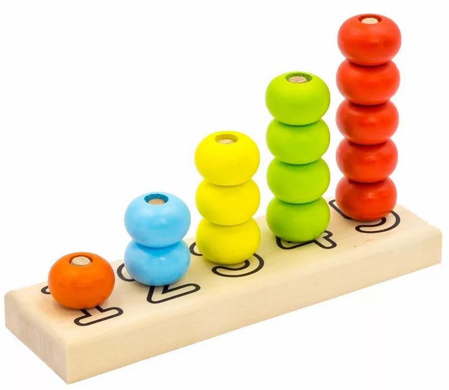 """Пирамидка """"Счеты"""" 15 деталей, диаметр колец 40 мм, 24*14*6 см, деревянная игрушка Алатойс ПСЧ4001 - купить в Москве"""